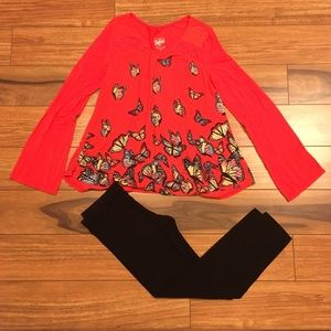 😍Pretty girls size 10 Justice butterfly top w leg
